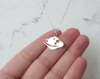 Saturn necklace, science jewelry, Christmas gift women, space pendant, celestial charm, sterling silver
