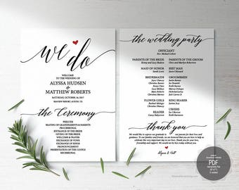 We Do Wedding Program PDF card template, instant download editable printable, Ceremony order card in calligraphy rustic theme (TED312_11)