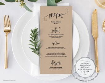 Wedding Menu card, PDF editable template, Instant Download Printable Card in rustic design theme (TED334_25)