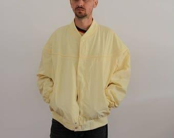 Derby Style Yellow Nylon Bomber Jacket Mens Large