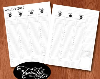 Dated Academic Year 2017-2018 Full size printable weekly hourly planner inserts, US Letter size AY 2017-18 planner, printable hourly agenda
