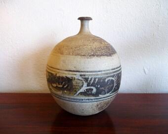 Signed Mark Hines '66 Vase Mid Century Modern Stoneware Pottery
