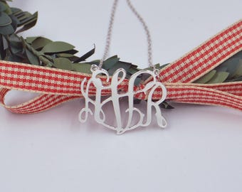 Sterling silver monogram necklace-monogrammed necklace-monogram plate-any initials-handmade Christmas gift