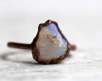 Opal Ring Size 7 Raw Australian Opal Electroformed Stone Ring Copper Ring Rough Stone Raw Opal