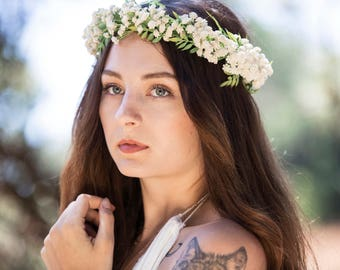 SALE Ivory Wedding Flower Hair Crown, Featuring Babies Breath and Smilax Leaf