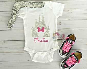 Personalized Minnie Mouse Onesie, Minnie Mouse Shirt, Disney Onesie, Disney Shirt, Disney Castle Onesie, Minnie Outfit, Minnie Converse