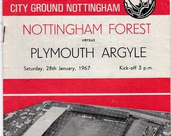 Vintage Football (soccer) Programme - Nottingham Forest v Plymouth Argyle, FA Cup, 1966/67 season