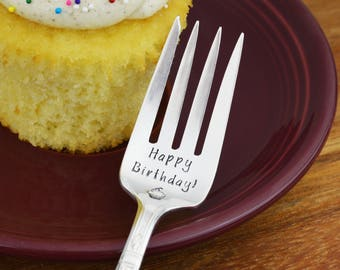Happy Birthday! Hand Stamped Cake Fork • Stamped Silverware • Birthday Gift Idea • Family Tradition • Housewarming