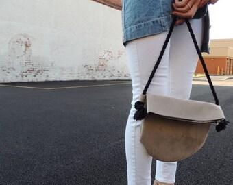 The Half Moon - Tan Vegan Suede Cross Body Bag with Zipper