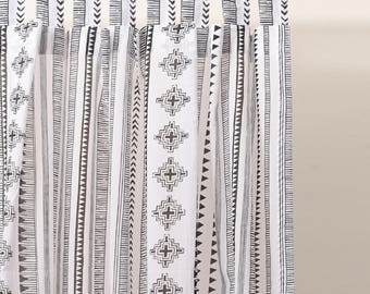 Black and white curtain Panel, cabana print, cotton voile, printed curtain, Sheer Drape, sizes available