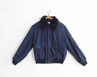 Reserved, please do not buy - Vintage Shearling Bomber Work Jacket - Navy Blue - Faux Fur - Size Small