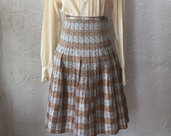 Free People Embroidered Plaid Pleated Folk Skirt with Floral Embrodiery Sz 4