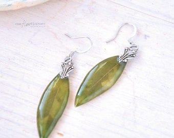Olive oleaster green earrings  - resin jewelry with real leaves - real plant earrings- spring verdure - Dangle earrings