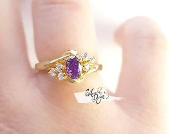 Amethyst Gemstone and Quartz Golden Ring. February Birthstone Purple Stone Jewelry Art Nouveau Starry Night Violet Gem Ring, Bridesmaid Gift