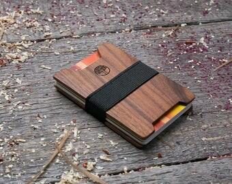 Premium Wood wallet, Rosewood wood, Slim Minimal Wallet, Wooden wallet, Credit card holder, boyfriend gift, Personalized wallet insert card