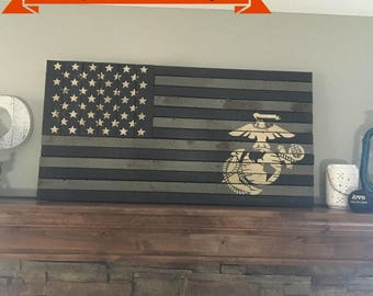 37 x19 5  Rustic EGA Marine Corps FlagMarine corps   Etsy. Marine Corps Themed Room. Home Design Ideas