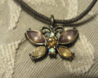 Amber Rhinestone Butterfly Necklace