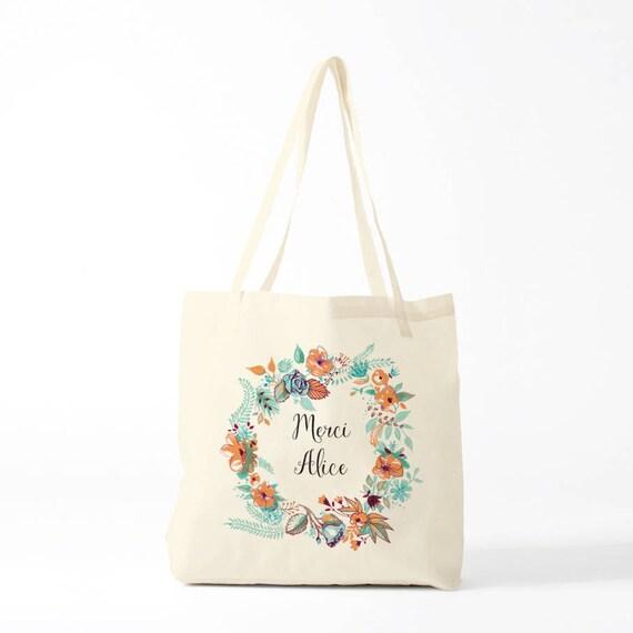 Tote Bag, Thank you Alice, mint, name of your choice, birth gift, canvas bag name, custom tote bag, name on a bag, purse, groceries bag.