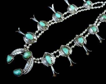 ON LAYAWAY 4 Stephanie: 167g Vintage Navajo Sterling Silver Squash Blossom Necklace w Soft Pastel Royston Turquoise Stones! Gorgeous Colors!