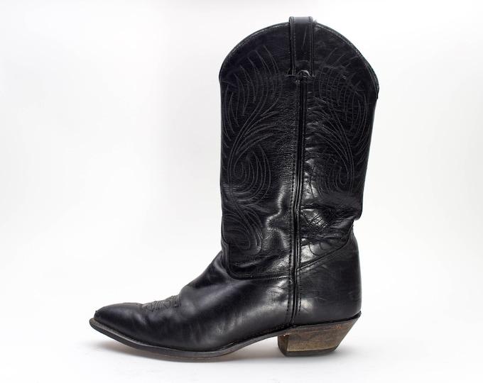 Vintage Cowboy Boots | 80s Code West Black Western Boots | Size US Men's 8.5  EU 41 - 42  UK 8