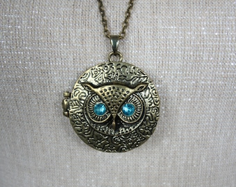 Turquoise Jewelled Eyes Owl Locket Pendant Necklace on Long Antique Bronze Chain