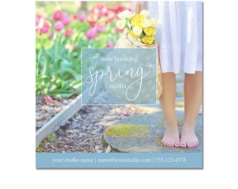 INSTANT DOWNLOAD, Spring Photography, Easter Mini Session Photography Template, Marketing Template, Kid, Watercolor, Pricing Sheet, Postcard
