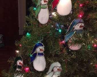 Hand-Crafted, Stained Glass Snowmen Ornaments by Krista
