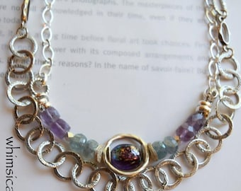 necklace, amethyst necklace, fluorite necklace, druzy necklace, green necklace, purple gemstone necklace, purple necklace, for her