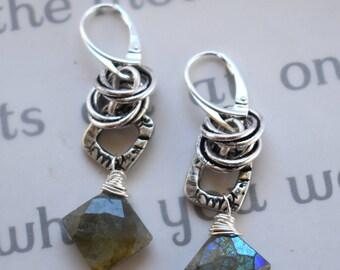 earrings, labradorite earrings, grey earrings, sterling silver earrings, bohemian earrings, leverback earrings, christmas for her, gray