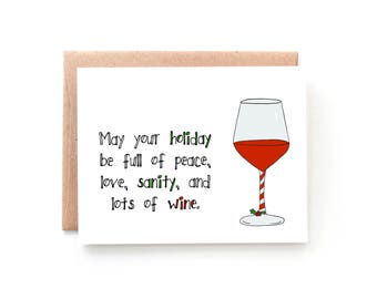 Wine Christmas Card - Funny Christmas Card - Funny Holiday Card - Peace, Love, Sanity Wine by Yellow Daisy Paper Co.