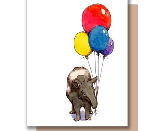 Party Tapir Card Happy Birthday Celebration Card