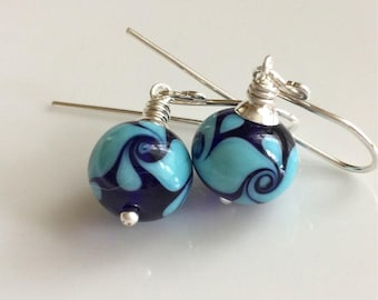Blue Glass Earrings  Cobalt Blue and Turquoise Earrings   Lampwork Glass Earrings   Sterling Silver Earrings