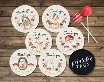 Woodland Thank you tags Printable Favor Tags, Woodland Baby Shower Tags Birthday favor tags, Woodland Favor tag Forest animals tags
