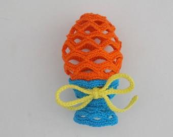 Oeuf de Pâques déco au crochet façon Fabergé avec son support (coquetier)/oeuf de Pâques crocheté ajouré/décoration Pâques/déco de Pâques