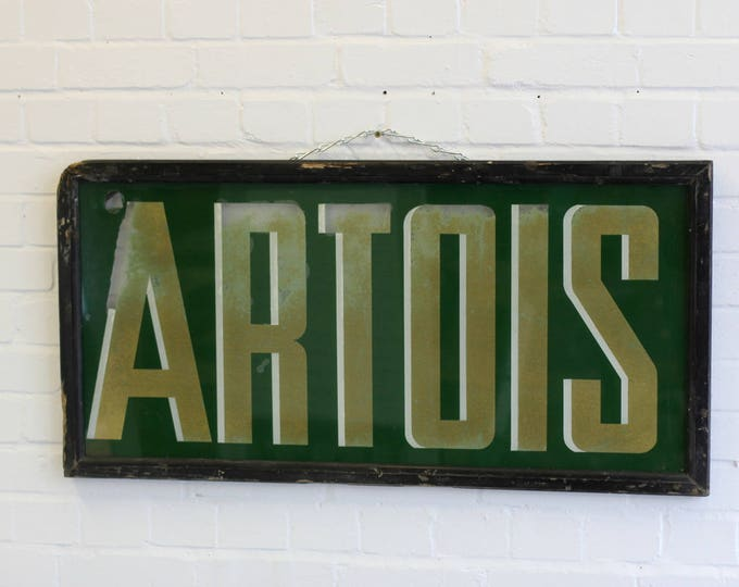 Large Reverse Painted Glass Stella Artois Sign Circa 1920s