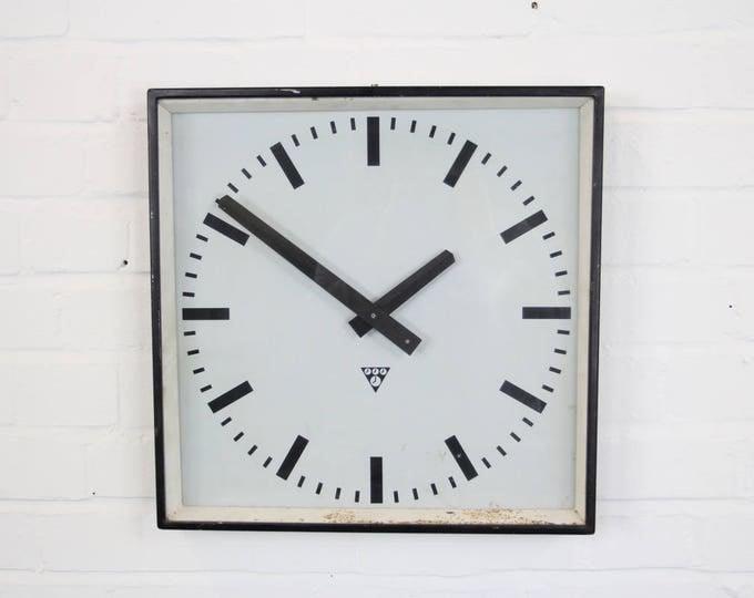 Black Industrial Czech Factory Clock By Pragotron Circa 1950's