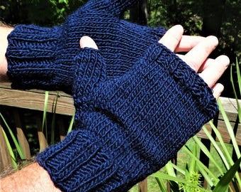 Fingerless Gloves Men's Hand Knit Navy Blue Merino Wool & Mohair Handwarmers Men's Knit Fingerless  Gloves Navy Blue Wool Mohair Knit Gloves