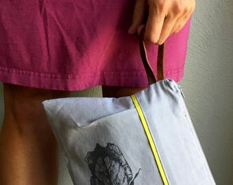 Grey Linen Handbag for Women, Evening Clutch, Pleated Clutch, Ladies Handbag, Grey Clutch Purse, Block Print Fabric, Nature Print