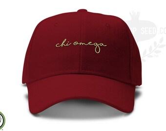 Chi Omega Handwriting Script Sorority Baseball Cap - Custom Color Hat and Embroidery