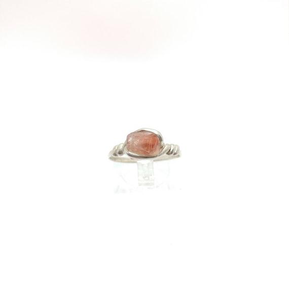 Raw Crystal Ring   Raw Oregon Sunstone Ring   Sterling Silver Ring Sz 8.75   Red Oregon Sunstone Ring   Raw Stone Engagement Ring