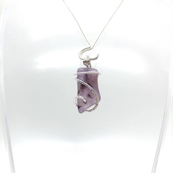 Holley Blue Agate Necklace | Purple Chalcedony Pendant | Eco Friendly Sterling Silver | Purple Stone Pendant | Botryoidal Agate Pendant