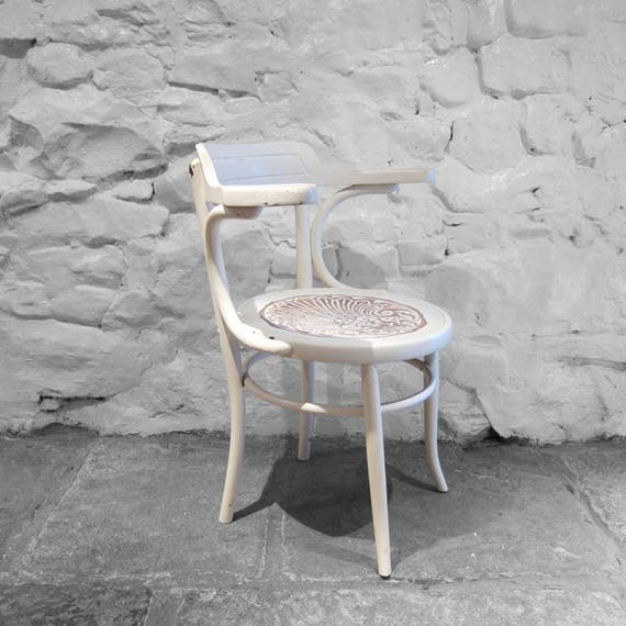 White Bentwood Arm Chair Painted Thornet Fischel 1920s Patten Seat