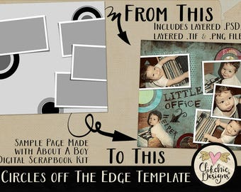 Layered Photoshop Template - Circles Off The Edge Digital Scrapbook Template - 12x12 Layered Photography Template, Digital Photo Template