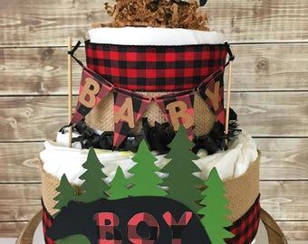 Lumberjack Diaper Cake (2 tier) in Buffalo Plaid, Lumberjack Baby Shower Centerpiece, Buffalo Check Decorations