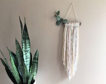 Tassel Wall Hanging Tapestry Driftwood Eucalyptus Grey Pink Natural Yarn Lace Nursery Gift Idea Decor Boho Bohemian Modern spring Simple