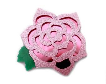 Rose brooch, acrylic brooch, pink rose, rose jewellery.