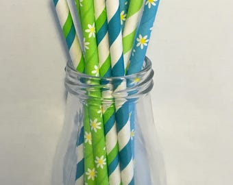 Blue Green Floral Mix Paper Straws, Mason Jar Straws, Party Decor, Straws, Tea Party, Spring Mix