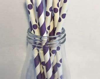 Lavender Purple Stripes & Dots Mix Paper Straws, Mason Jar Straws, Party Decor, Straws