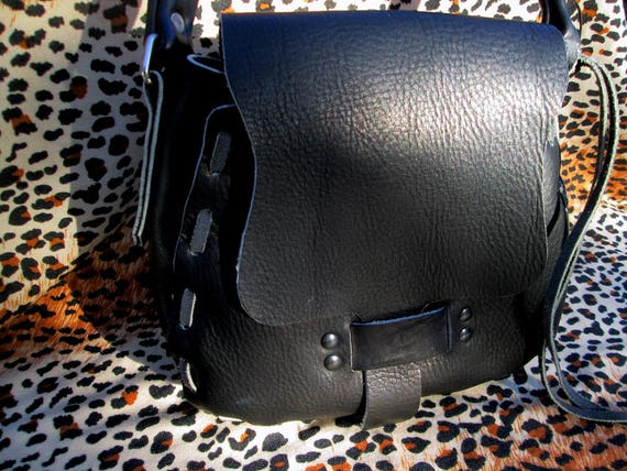 Leather Handbag, Black Shoulder Bag, Handmade, Original Design, Gray Trim, Boho Handbag, Soft Leather Handbag