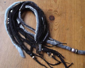 Handmade Felt Hair Falls,Black & Grey Merino Wool, Weft Clip Hair Extension.Ooak.